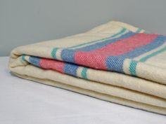 Large Vintage Pure Wool Blanket Ivory Pink Blue door NewfoundFinds