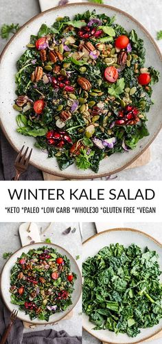 Winter Kale Salad This Easy Winter Kale Salad is full of delicious flavor and texture & packed with yummy winter gree Winter Salad Recipes, Kale Salad Recipes, Veggie Recipes, Healthy Recipes, Paleo Kale Salad, Shrimp Recipes, Healthy Side Dishes, Healthy Salads, Thanksgiving Salad