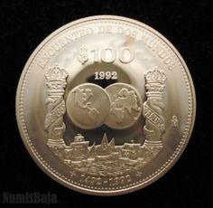 100 pesos de plata encuentro de dos mundos México 1992