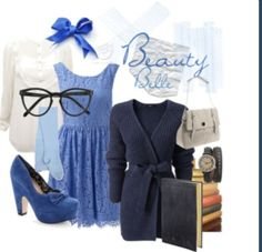 Belle inspired wardrobe. Blue Dress, Blue Cardigan, Blue heels, White Button Up and Tights