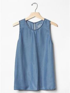1969 Tencel® denim sleeveless keyhole top | Gap