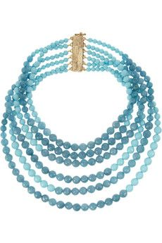 Rosantica Amanda gold-dipped turquoise and angelite necklace   NET-A-PORTER Handmade in the label's Milan atelier, Rosantica's turquoise and angelite necklace is a celebration of traditional craftsmanship. This beautiful piece comprises six layered strands of faceted beads and a hammered gold-dipped brass magnetic fastening.