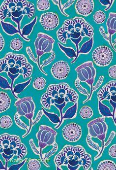 Katja | Folkfield Blue floral pattern aqua teal turquoise