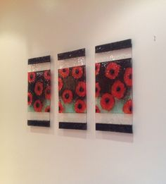 Funky Glass — Poppies Fused Glass Wall Art