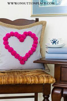 valentine pom pom pillow
