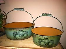 French Country Chic Shabby Rusty 2 COTTAGE GREEN BUCKET Basket ParisBird Motif