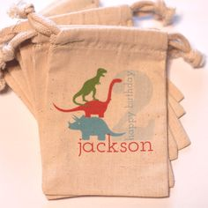 10 DINOSAUR- 3.5x5 inch Custom Favor Bags - choose colors and name. $18.00, via Etsy.