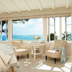 A cozy seating area makes a great place to relax by a picture window with a gorgeous ocean view