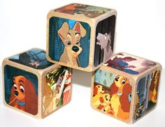 Lady And The Tramp Children's Wooden Blocks Baby by Booksonblocks, $16.00