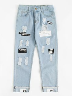 Letter Print Ripped Jeans Spring Button Fly Mid Waist Women Trousers Blue Pocket Casual Jeans Blue S Girls Fashion Clothes, Teen Fashion Outfits, Denim Fashion, Outfits For Teens, Fall Fashion, Ripped Boyfriend Jeans, Ripped Jeans, Mom Jeans, Casual Jeans