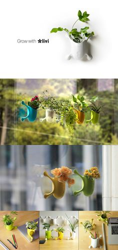 """Livi a colorful creature that reimagines the everyday planter. No more worrying about whether your plants will get enough sunlight. Versatile and portable, this planter can stick on virtually any vertical surface thanks to its specialized """"palms"""". Read More at Yanko Design"""