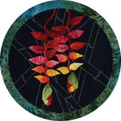 A beautiful marriage of Japanese sashiko and appliqué! A popular and exotic cut flower, heliconias dangle from ten foot stems topped with huge spade-shaped leaves. Each fabric kit includes: - Kona cot