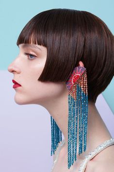 Elegantia Jewelry Inspiration, cascading long beaded earrings, red and blue fringe beaded earrings, large statement beaded earrings, Modern Jewelry, Diy Jewelry, Beaded Jewelry, Jewelry Box, Jewellery, Silver Jewelry, Silver Rings, Jewelry Storage, Jewelry Holder