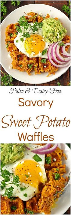 Savory Sweet Potato Waffles [Paleo / Gluten-Free] - Made from just three basic ingredients, these Savory Sweet Potato Waffles are paleo, grain-free, gluten-free and dairy-free! Healthy Breakfast Recipes, Brunch Recipes, Paleo Recipes, Whole Food Recipes, Cooking Recipes, Free Recipes, Savory Sweet Potato Recipes, Sweet Potato Waffles, Waffles Paleo