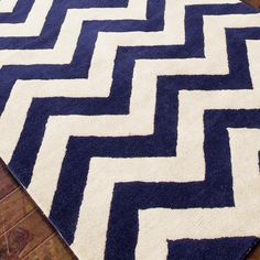 Plush Wool Chevron Rug - Navy or Gray Perfect for my Dinning Room