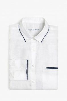 Camisa lino contraste  Adolfo Dominguez