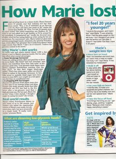 Marie Osmond Diet in Woman's World Magazine - Scan of Article. This is the only diet that ever worked for me. Plus walking at least 30 minutes ... fast ... 4 - 5 nights a week.