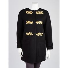 Pre-owned Burberry Prorsum Black Cashmere Regimental Embroidered Coat (2.310 BRL) ❤ liked on Polyvore featuring outerwear, coats, pure cashmere coat, wool cashmere coat, military-style coats, burberry and burberry coat