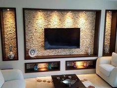 House Ceiling Design, Bedroom False Ceiling Design, Tv Wall Design, Tv Unit Furniture Design, Tv Unit Interior Design, Deco Tv, Modern Tv Wall Units, Living Room Entertainment Center, Living Room Tv Unit Designs