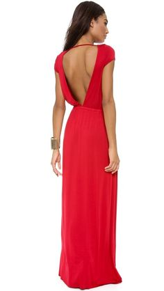 Open back red maxi dress.