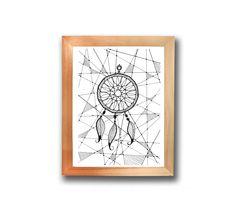 Illustration sous cadre, attrape rêve : Affiches, illustrations, posters par les-illus-de-ju