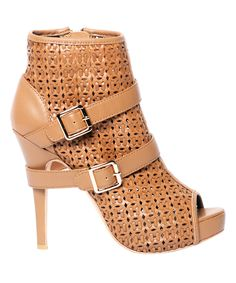 Look at this Alejandra G Camel Basketweave Leather Grace Bootie on #zulily today!
