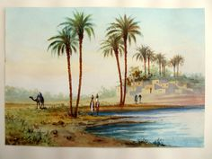 Orientalist  Figures by the Water Egypt, watercolour signed A. Marchettini c1890 #Realism $378.00
