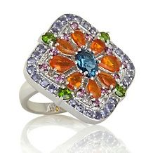 Sima K Fire Opal and Multigem Sterling Floral Ring