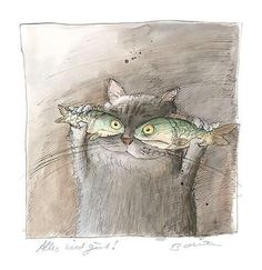 .A través de Peggy Kuchler fish eyes , cute , whimsical, funny surreal childrens watercolour book cartoon illustration cat painting print