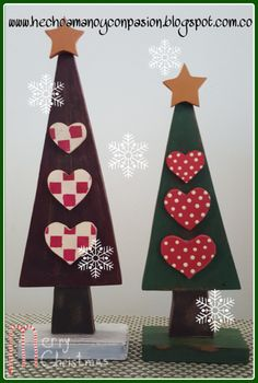 árboles en madera vintage Wooden Xmas Trees, Ceramic Christmas Decorations, Christmas Food Gifts, Christmas Wood Crafts, Christmas Hearts, Rustic Christmas, Vintage Christmas, Christmas Holidays, Christmas Ornaments
