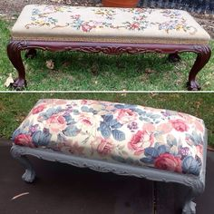 Painted & re-upholstered vintage end of bed stool