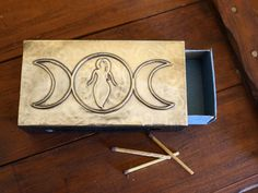 Triple Moon Goddess 2 Pewter Wooden Matchbox by PurpleMoonCraft Triple Moon Goddess, Witch Cottage, Green Witchcraft, The Good Witch, Media Wall, Magick, Pagan, Wearable Art, Pewter