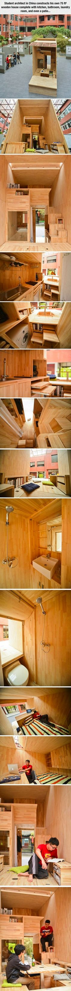 Chinese student builds tiny wooden cube that is more luxurious than any dorm room.
