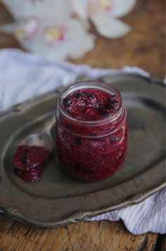 raw chia seed jam - petite kitchen 2 cups of frozen or fresh fruit 1/4 cup water 3 tbsp chia seeds 2 tbsp honey, maple or agave syrup (optional)