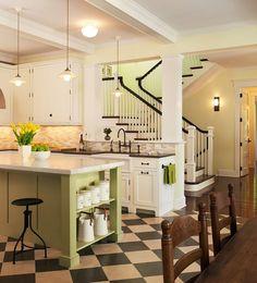 Lakeside cottage kitchen - black & white floor for kitchen/dining area Cottage Kitchens, Home Kitchens, Small Kitchens, Dream Kitchens, Open Kitchen, Kitchen Dining, Kitchen Retro, Kitchen Black, Cozy Kitchen