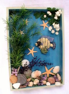 Nautical Shadow Box with striped fish