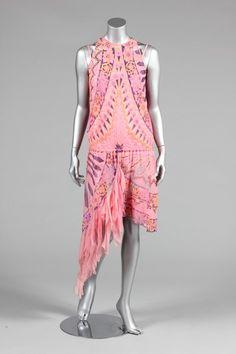 Zandra Rhodes printed pink chiffon dress, circa 1980. Kerry Taylor Auctions