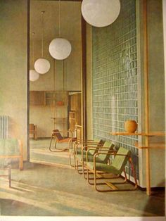 Vintage Interior - Italy - Circa 1942 – the repitition of the lighting makes an optical illusion of a mirrored room. (Photo : office interior and furniture by Giuseppe Pagano Pogatsching)