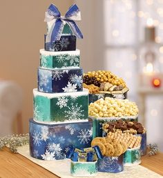 Sweet and salty treats are the perfect combination in our Winter Wonder Decadent Sweets Tower, packaged in layered boxes decorated in blue with white snowflakes. Bouquet Delivery, Flower Delivery, Types Of Flowers, All Flowers, Sympathy Plants, Happy Hour Party, Food Gift Baskets, Balloon Flowers, Winter Flowers