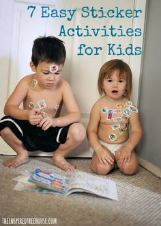 If you find yourself at home with your toddler or preschooler and in need of some quick and easy entertainment, try these fun sticker activities for kids that promote developmental skills! Fine Motor Activities For Kids, Creative Activities For Kids, Toddler Activities, Creative Play, Therapy Activities, Learning Activities, My Little Kids, Toddler Development, Toddler Play