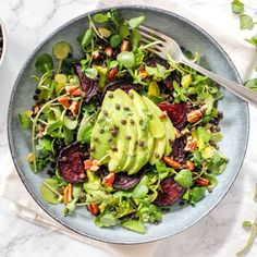 You'll never have a sad desk lunch again with this delicious watercress, beet, avocado and lentil salad.
