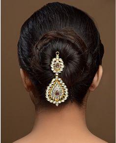 Floral Jooda Pin with Tasseled Red Drop Stone Exclusively. Bun Hairstyles, Hairstyle Ideas, Hair Ideas, Wedding Prep, Hair Ornaments, Indian Fashion, Hair Pins, Red Hair, Hair Makeup