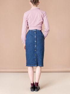verkoop DENIM KOKERROK zakken vrouwen jaren 90 vintage jean