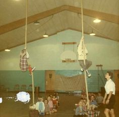 The rope in gym class...now THAT was safe!  Gotta love climbing 50 feet up a rope with nothing but a 2 inch mat under you!