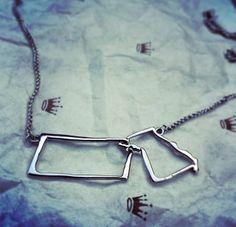 Gifted from @Halls Kansas City - A KS/MO Traveler necklace. #kc #kansas #missouri #travel #state #shoplocalkc #hometown #jewelry #kc #necklace #kcmo #janesko