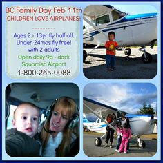 BC Family Day Feb Bring the kids they fly half off! We love to share our beautiful BC skies with children of all ages! Capital Of Canada, Family Day, Child Love, Outdoor Recreation, British Columbia, Children, Kids, Things To Do, Age