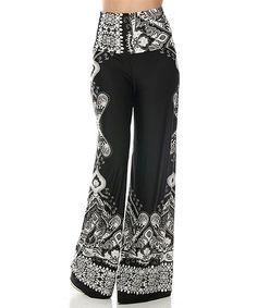 This On Trend Black & White Paisley Palazzo Pants by On Trend is perfect! #zulilyfinds