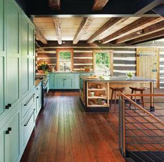 Love that island & color of the cabinets