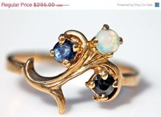 Valentine Sale Antique 10k Gold Blue Sapphire & by Yourgreatfinds, $253.70