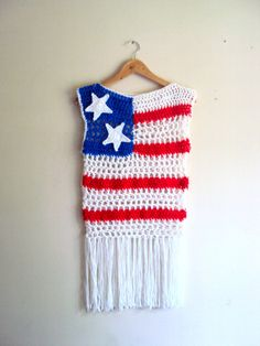 American Flag Top Crochet Festival Top Boho Tank Top Beachwear Summer Tops Fringe Top Cover Up 4th July Celebration Baby Toddler Adult SizeTank  by GrahamsBazaar